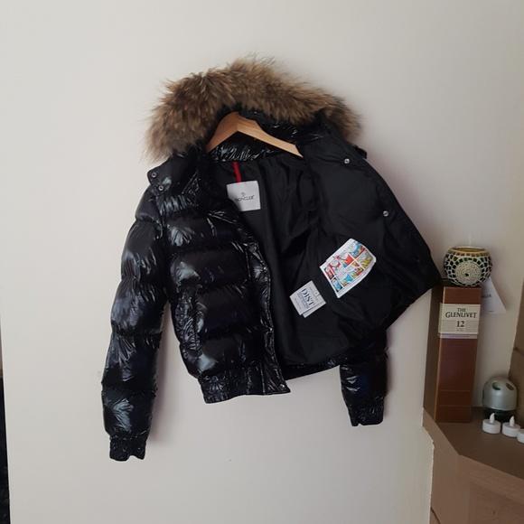 moncler jacket fox fur hoodie coat black